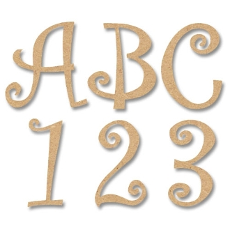 8 Quot Letters Numbers Amp Symbols Curly Style Mdf