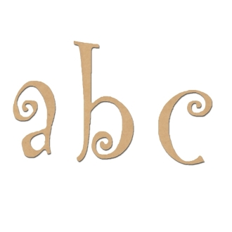 lower case curly mdf wooden letters