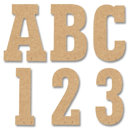 5 letters numbers symbols block style mdf upper case wood